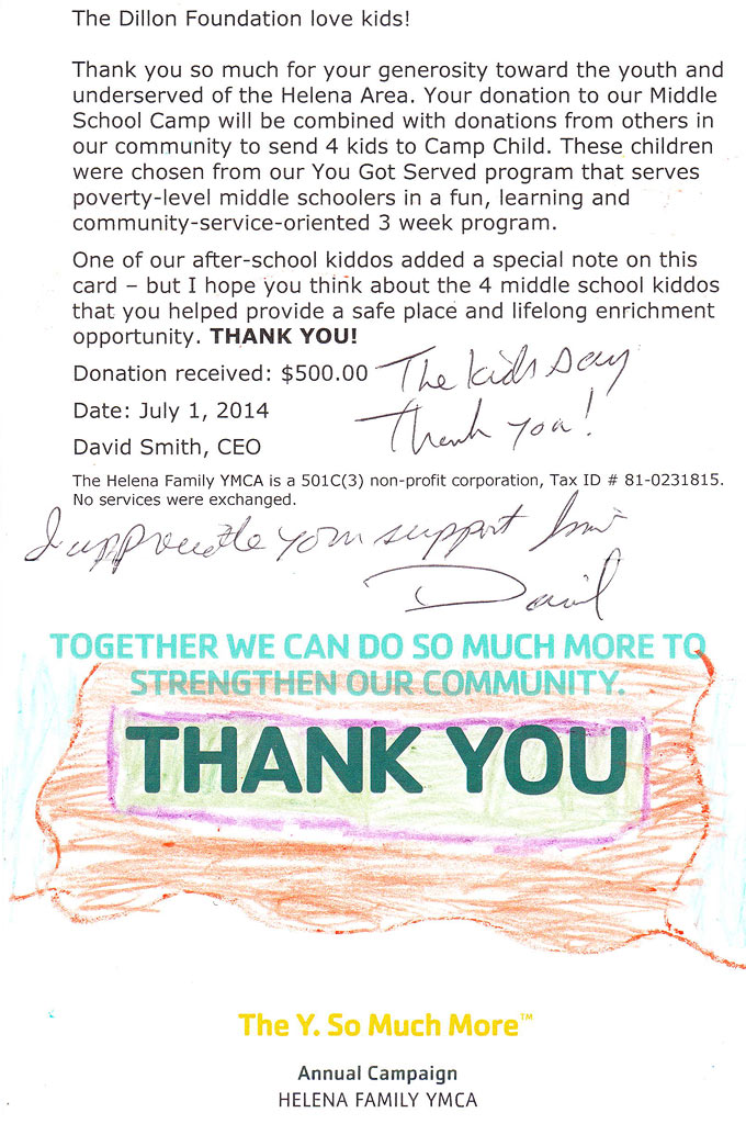 Camp Child YMCA Thank-You Letter